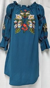 She and Sky Blue Turquoise Embroidered Dress Small